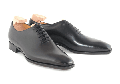 Black Sinatra Leather Whole Cut Oxford Shoes