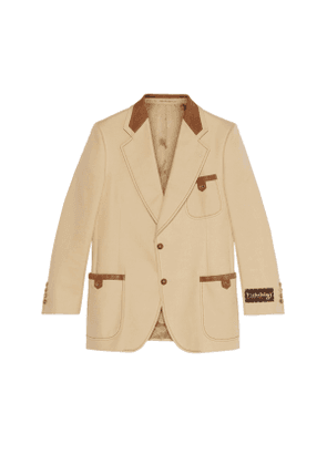 Cotton and suede tailored jacket