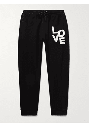 Burberry - Tapered Printed Loopback Cotton-Jersey Sweatpants - Men - Black - M