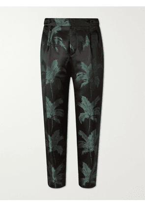 SAINT LAURENT - Tapered Cropped Pleated Satin-Jacquard Trousers - Men - Green - IT 46