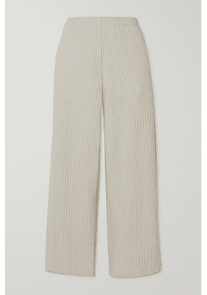 Vince - Cropped Ribbed-knit Wide-leg Pants - Ivory