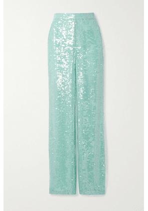 LAPOINTE - Sequined Organza Straight-leg Pants - Turquoise
