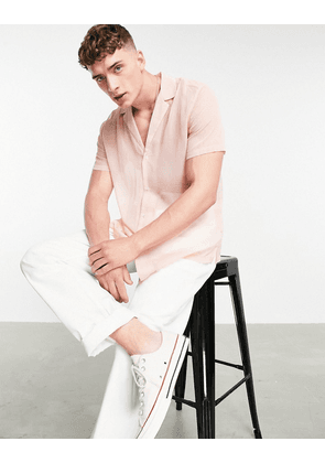 ASOS DESIGN crepe shirt with deep revere collar in pink