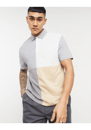 ASOS DESIGN relaxed organic polo shirt with grid colour block in beige-Grey