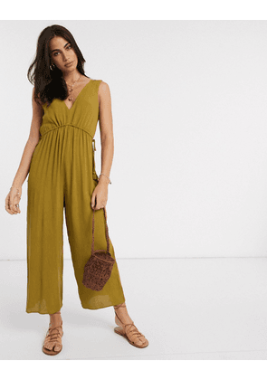 ASOS DESIGN lounge minimal wide leg jumpsuit with rope channel waist in khaki-Multi