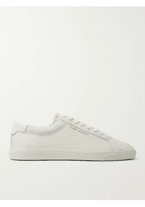 SAINT LAURENT - Andy Snake-Effect Leather Sneakers - Men - White - EU 39