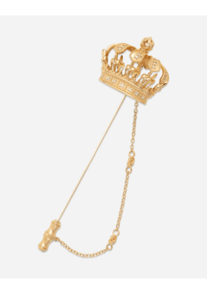 Dolce & Gabbana Jewelry - Crown stick pin brooch in yellow and white gold with curly gold thread embellishments and sphere GOLD male OneSize