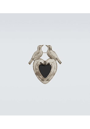 Dove and heart brooch