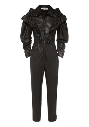 Faux Leather Ruffled Jumpsuit