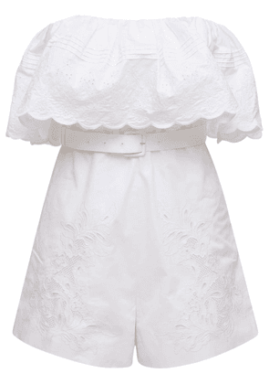 Embroidered Off-the-shoulder Playsuit