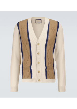 GG perforated cotton cardigan