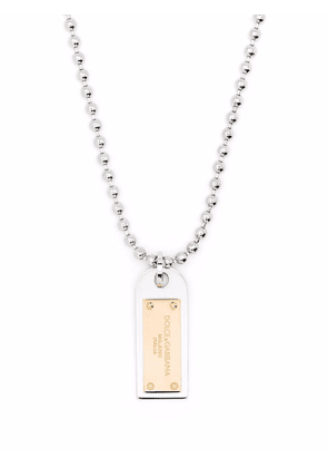 Dolce & Gabbana two-tone military dog tag necklace - Silver