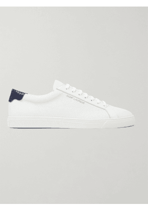 SAINT LAURENT - Andy Snake Effect-Trimmed Perforated Leather Sneakers - Men - White - EU 39