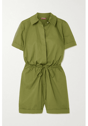 STAUD - Ludo Belted Stretch-cotton Playsuit - Army green
