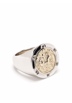 Tom Wood Coin 9kt yellow gold and sterling silver diamond ring