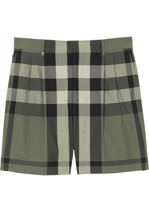 Burberry check-print tailored shorts - Green