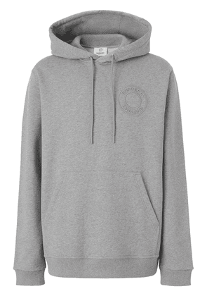 Burberry logo-embroidered hoodie - Grey