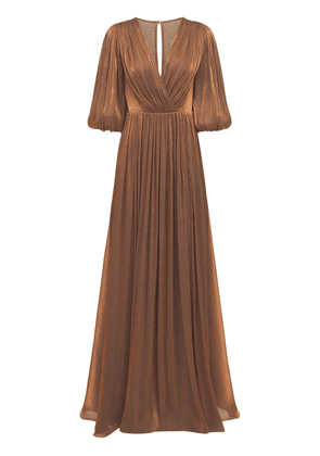 Belted Lurex Georgette Draped Gown