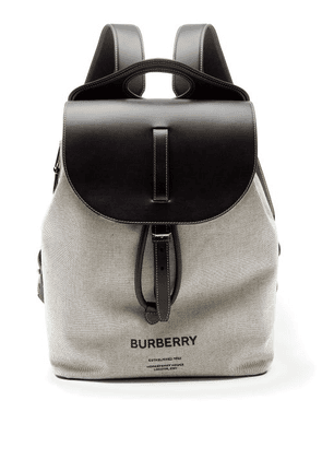 Burberry - Logo-print Leather And Cotton-canvas Backpack - Mens - Black Grey