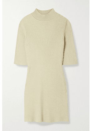 The Row - Cassiopea Ribbed Silk And Cotton-blend Top - Beige