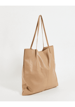 ASOS DESIGN clean tote bag in stone faux leather-Neutral