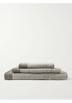 Cleverly Laundry - Set of Three Pinstriped Cotton-Terry Bath Towels - Men - Gray