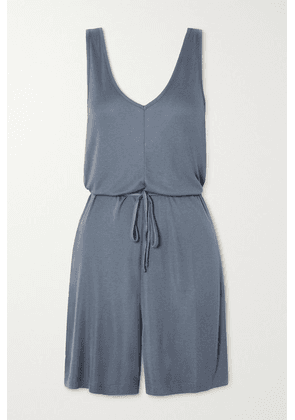 Ninety Percent - + Net Sustain Belted Ecovero-jersey Playsuit - Gray