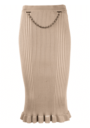 Givenchy ribbed chain-trim pencil skirt - Neutrals
