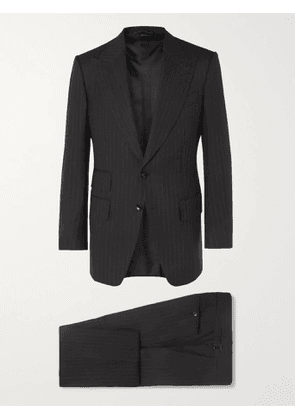 TOM FORD - Grey Atticus Slim-Fit Pinstriped Wool and Silk-Blend Suit - Men - Black - IT 50