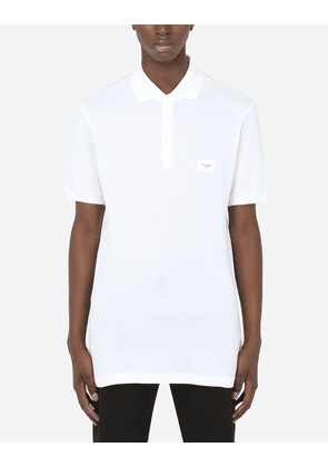 Dolce & Gabbana Collection - Cotton piqué polo-shirt with branded plate White male 58
