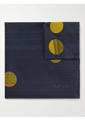 Paul Smith - Printed Wool and Silk-Blend Pocket Square - Men - Blue
