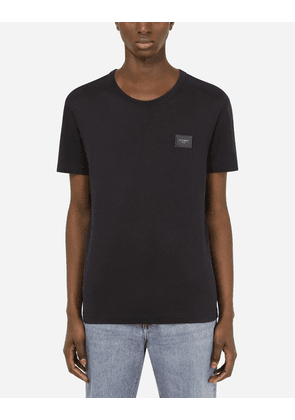 Dolce & Gabbana Collection - Cotton T-shirt with branded plate Blue male 46