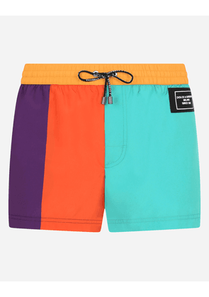 Dolce & Gabbana Collection - Short nylon patchwork swim trunks with patch Multicolor male 2