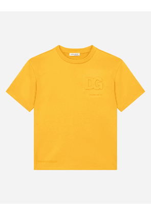 Dolce & Gabbana Collection - Jersey T-shirt with embossed DG logo Yellow male 2