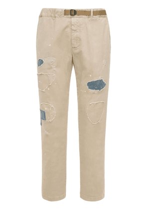 Belted Cotton Pants W/patches & Stitches