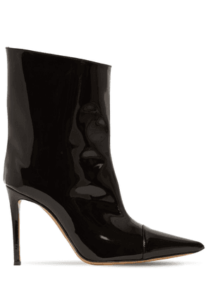 105mm Faux Patent Leather Ankle Boots