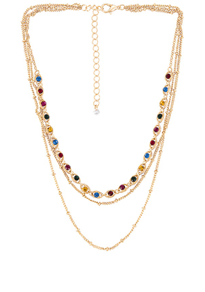 8 Other Reasons Crystalize Lariat Necklace in Metallic Gold.