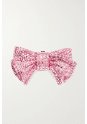 Judith Leiber Couture - Bow Just For You Crystal-embellished Silver-tone Clutch - Pink