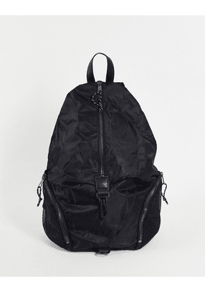 ASOS DESIGN backpack with front clip detail in black nylon