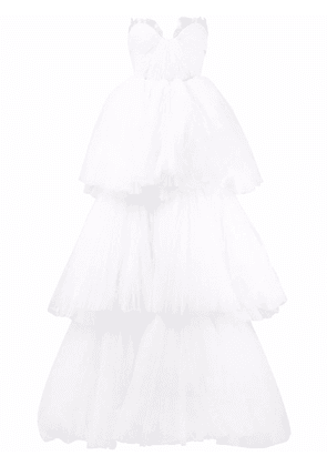 Maria Lucia Hohan Gianna tiered tulle strapless gown - White