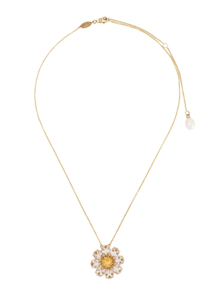 Dolce & Gabbana 18kt yellow gold floral-pendant necklace