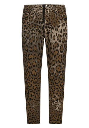 Dolce & Gabbana leopard print cropped trousers - Brown
