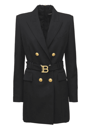 Belted Wool Double Breasted Jacket Dress