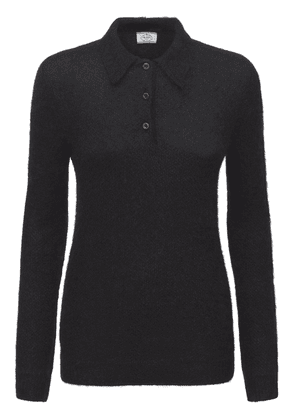 Mohair Blend Knit Polo Neck Sweater