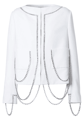 Burberry crystal-embellished chain-detail jacket - White