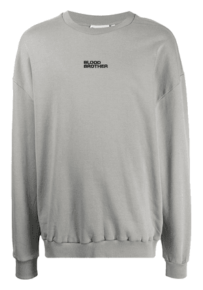Blood Brother Wall St logo-embroidered sweatshirt - Grey