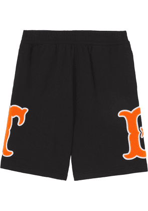 Burberry Letter Graphic cotton-jersey shorts - Black
