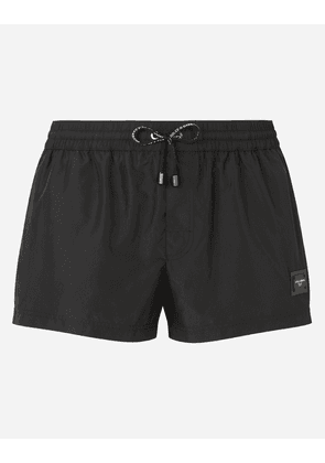 Dolce & Gabbana Collection - Short swim trunks with branded plate Black male 5