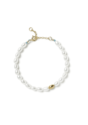The Alkemistry Large White Pearl One Gold Bead Bl