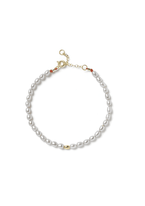 The Alkemistry Small Grey Pearl One Gold Bead Bl